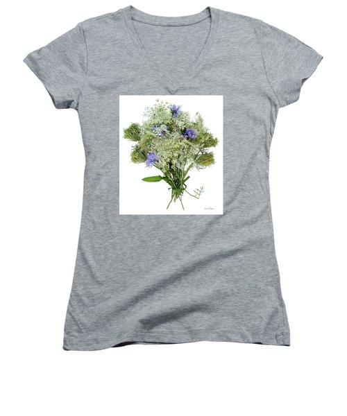 Queen Anne's Lace With Purple Flowers Women's V-Neck T-Shirt (Junior Cut) by Lise Winne