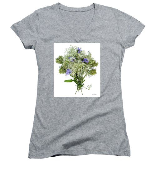 Queen Anne's Lace With Purple Flowers Women's V-Neck