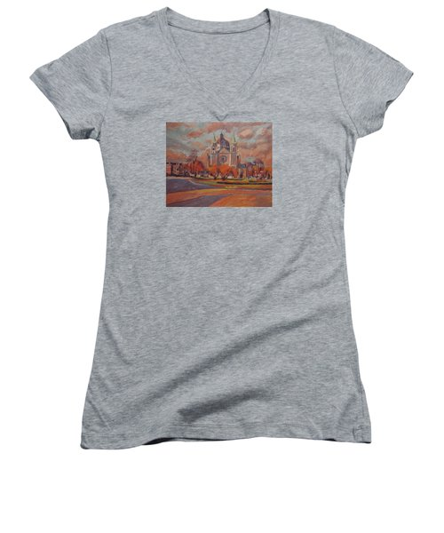 Queen Emma Square In Autumn Colours Women's V-Neck T-Shirt (Junior Cut) by Nop Briex