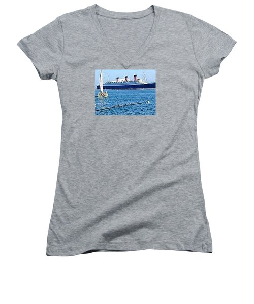 Queen Mary Women's V-Neck T-Shirt (Junior Cut) by James Knecht