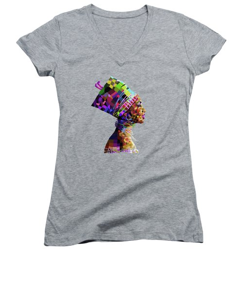 Queen Nefertiti Women's V-Neck T-Shirt (Junior Cut) by Anthony Mwangi
