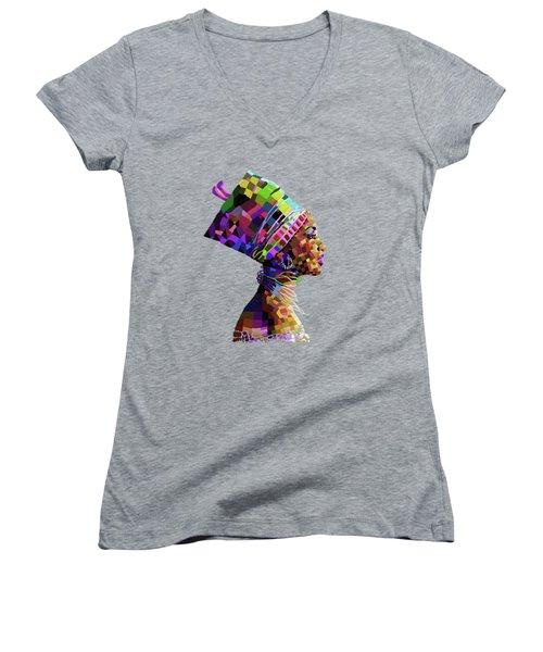 Queen Nefertiti Women's V-Neck T-Shirt (Junior Cut) by Anthony Mwangi