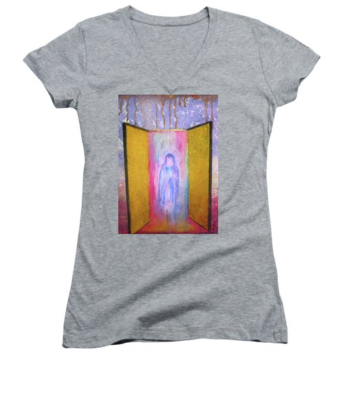 Women's V-Neck T-Shirt (Junior Cut) featuring the painting Queen Of Heaven by Mary Ellen Frazee