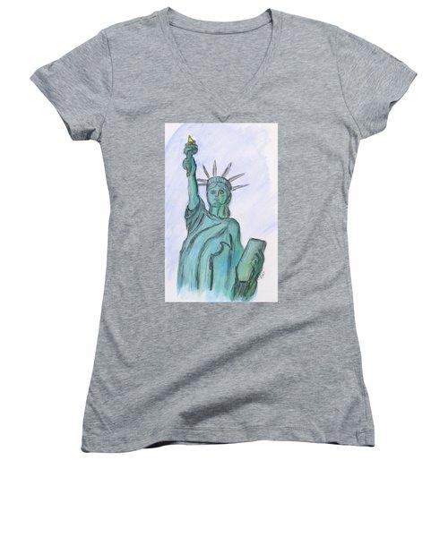 Queen Of Liberty Women's V-Neck T-Shirt (Junior Cut) by Clyde J Kell