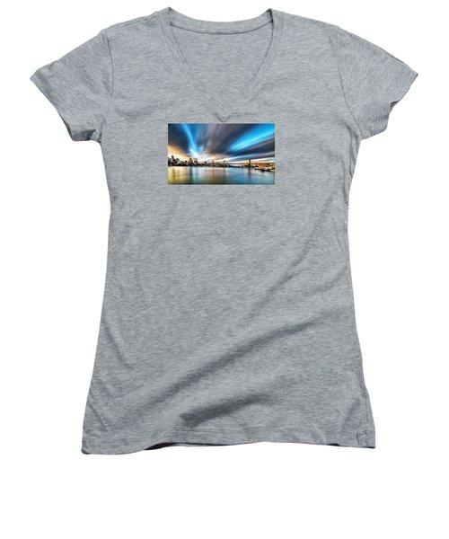 Women's V-Neck T-Shirt (Junior Cut) featuring the photograph Queensboro Bridge by Rafael Quirindongo