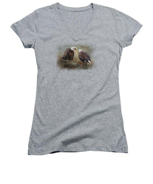 Quiet Conversation Women's V-Neck T-Shirt (Junior Cut) by Jai Johnson