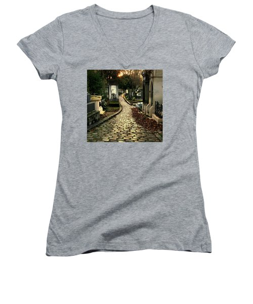 Women's V-Neck T-Shirt (Junior Cut) featuring the photograph  Pere Lachais Cemetery Road by Katie Wing Vigil
