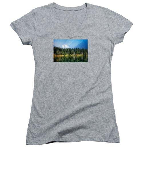 Women's V-Neck T-Shirt (Junior Cut) featuring the photograph Quiet Reflections  by Lynn Hopwood