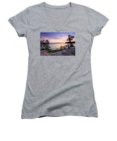 Women's V-Neck T-Shirt (Junior Cut) featuring the photograph Quiet Sunset by Jennifer Casey