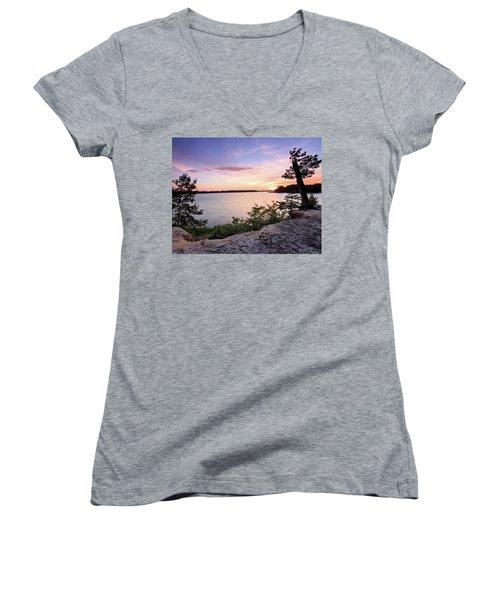 Women's V-Neck T-Shirt (Junior Cut) featuring the photograph Quiet Waters Crop by Jennifer Casey