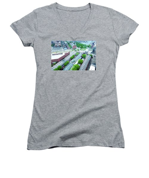 Women's V-Neck T-Shirt (Junior Cut) featuring the photograph Quincy And Columbus by Greg Fortier