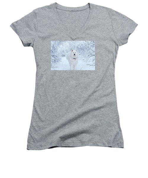Quinn The Mighty Samoyed Women's V-Neck (Athletic Fit)