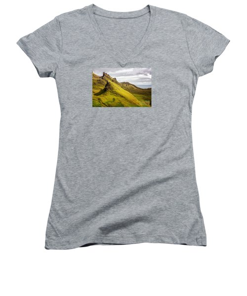 Quiraing Mountains Women's V-Neck (Athletic Fit)