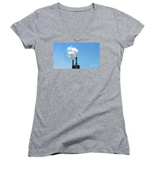 Women's V-Neck T-Shirt (Junior Cut) featuring the photograph Quit by Stephen Mitchell