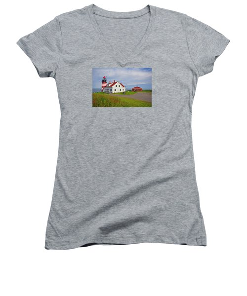 Quoddy Head Lighthouse Women's V-Neck T-Shirt