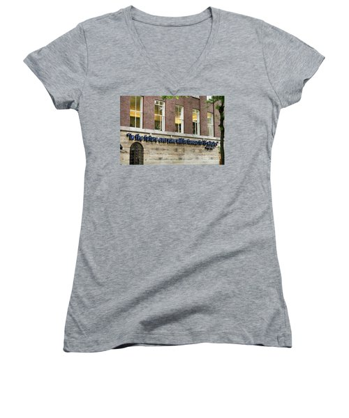 Women's V-Neck T-Shirt (Junior Cut) featuring the photograph Quote Of Warhol 15 Minutes Of Fame by RicardMN Photography