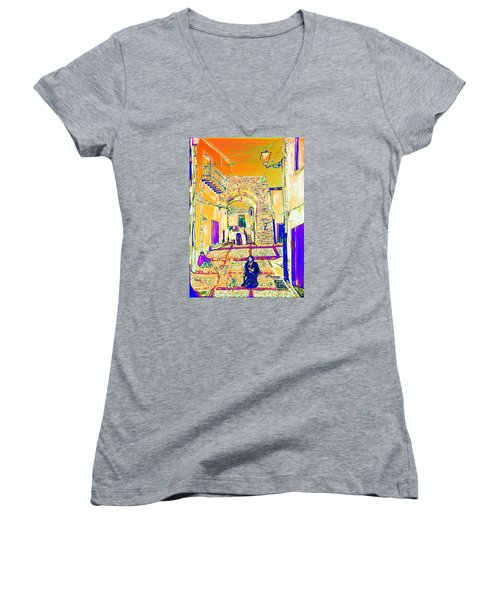 Women's V-Neck T-Shirt (Junior Cut) featuring the painting Rabato  by Loredana Messina