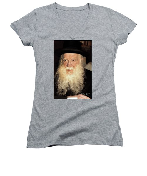 Women's V-Neck T-Shirt (Junior Cut) featuring the photograph Rabbi Yehudah Zev Segal by Doc Braham