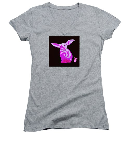 Women's V-Neck T-Shirt (Junior Cut) featuring the photograph Rabbit by James Bethanis