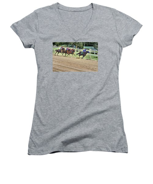 Women's V-Neck T-Shirt (Junior Cut) featuring the digital art Race Horses In Motion by Lise Winne