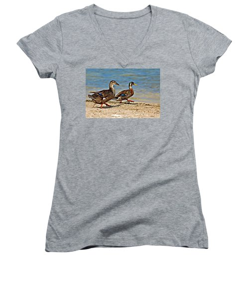 Race You To The Water Women's V-Neck T-Shirt (Junior Cut) by Carolyn Marshall