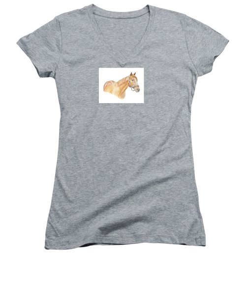 Women's V-Neck T-Shirt (Junior Cut) featuring the painting Racehorse by Elizabeth Lock