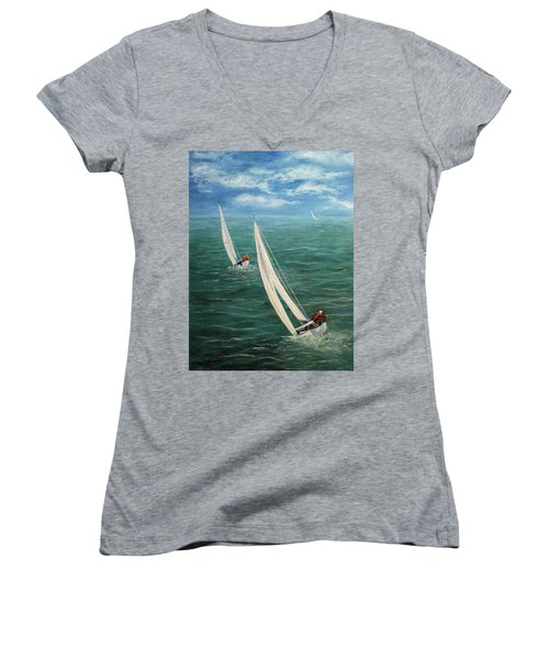 Racing Women's V-Neck (Athletic Fit)
