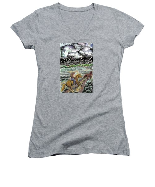 Women's V-Neck T-Shirt (Junior Cut) featuring the drawing Racing The Lightning Home by Dawn Senior-Trask