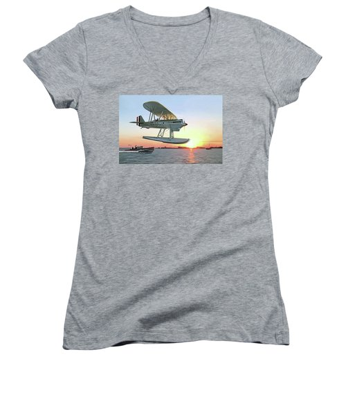 Racing The Sun Women's V-Neck T-Shirt