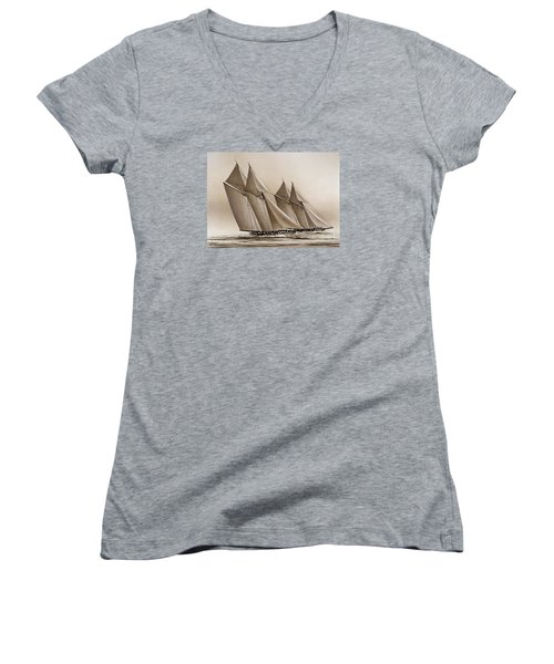Racing Yachts Women's V-Neck (Athletic Fit)