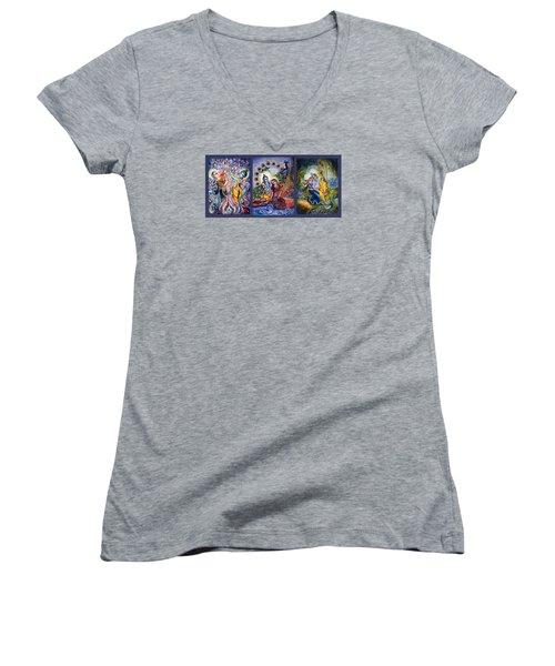 Radha Krishna Cosmic Leela Women's V-Neck T-Shirt (Junior Cut) by Harsh Malik
