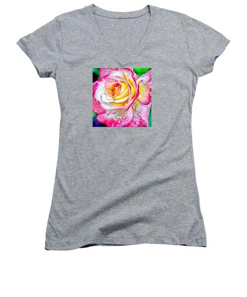 Women's V-Neck T-Shirt (Junior Cut) featuring the digital art Radiant Rose Of Peace by Charmaine Zoe