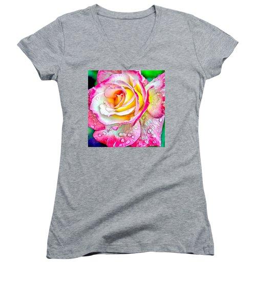 Radiant Rose Of Peace Women's V-Neck