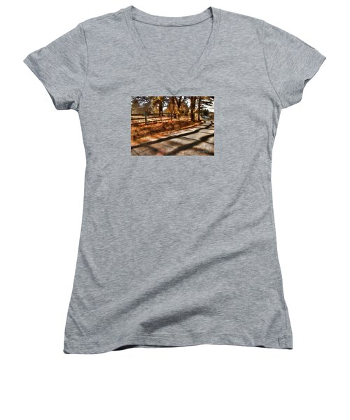 Women's V-Neck T-Shirt (Junior Cut) featuring the photograph Radiating by Betsy Zimmerli