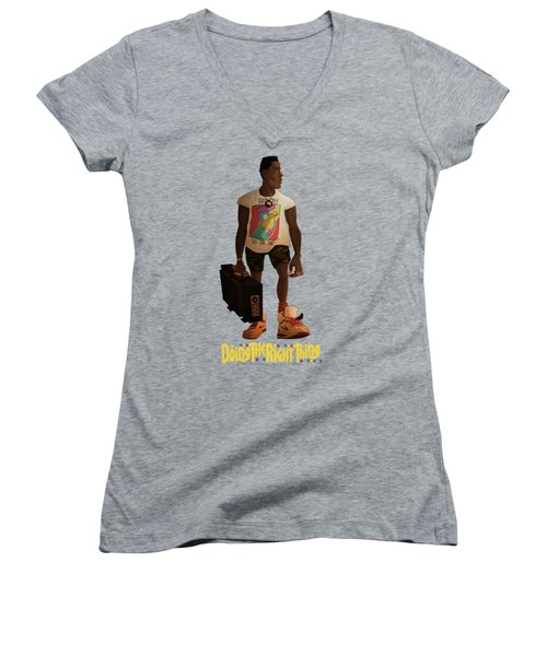 Women's V-Neck T-Shirt (Junior Cut) featuring the drawing Radio Raheem by Nelson Dedos Garcia