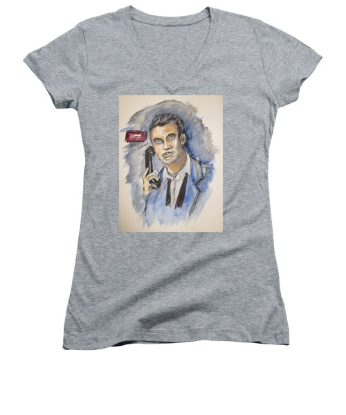 Radio's Philip Marlowe Women's V-Neck T-Shirt (Junior Cut) by Clyde J Kell