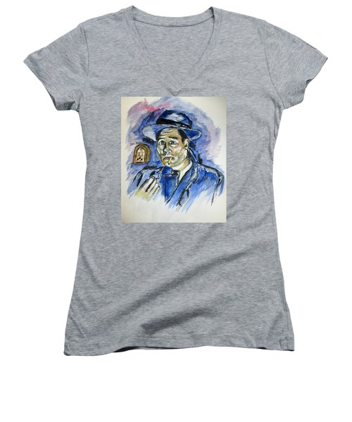 Radio's Sam Spade Women's V-Neck T-Shirt (Junior Cut) by Clyde J Kell