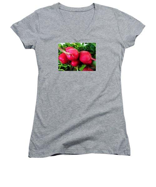 Radish Bottoms Women's V-Neck T-Shirt (Junior Cut) by Dee Flouton