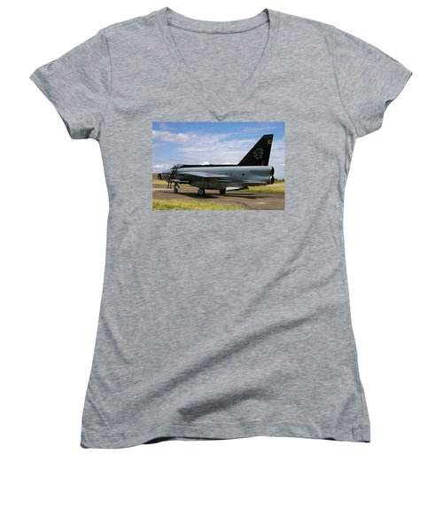 Women's V-Neck T-Shirt (Junior Cut) featuring the photograph Raf English Electric Lightning F6 by Tim Beach