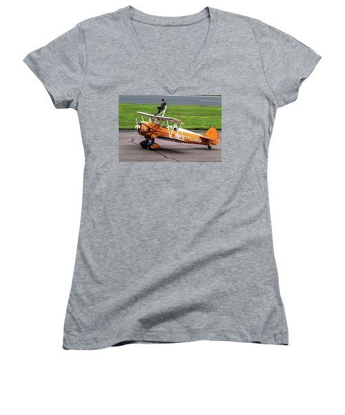 Raf Scampton 2017 - Breitling Wingwalkers At Rest Women's V-Neck T-Shirt