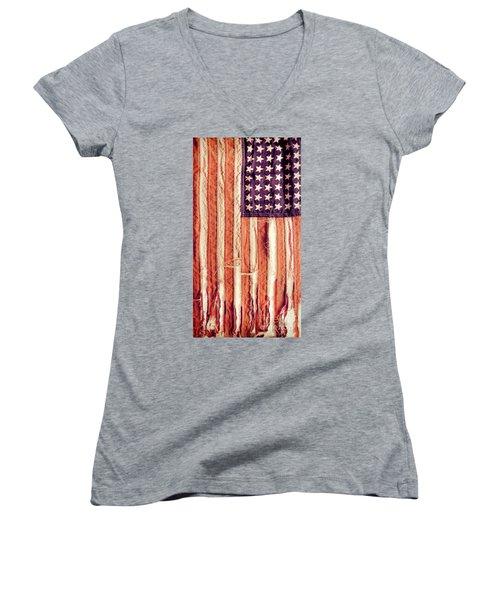 Ragged American Flag Women's V-Neck T-Shirt (Junior Cut) by Jill Battaglia