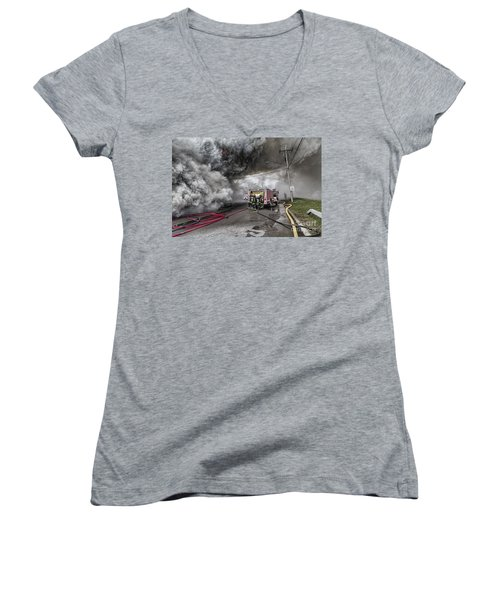 Women's V-Neck T-Shirt (Junior Cut) featuring the photograph Raging Inferno by Jim Lepard