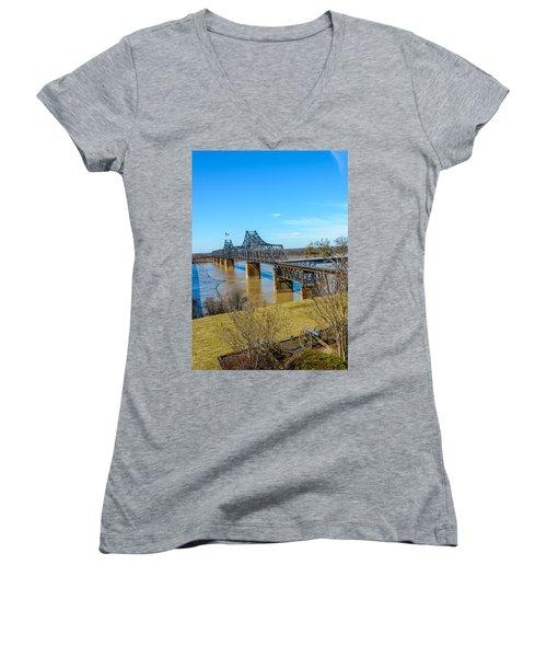 Women's V-Neck T-Shirt (Junior Cut) featuring the photograph Rail Road Bridge by Jerry Cahill