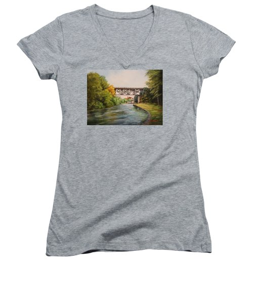 Railroad Bridge Over Erie Canal Women's V-Neck (Athletic Fit)
