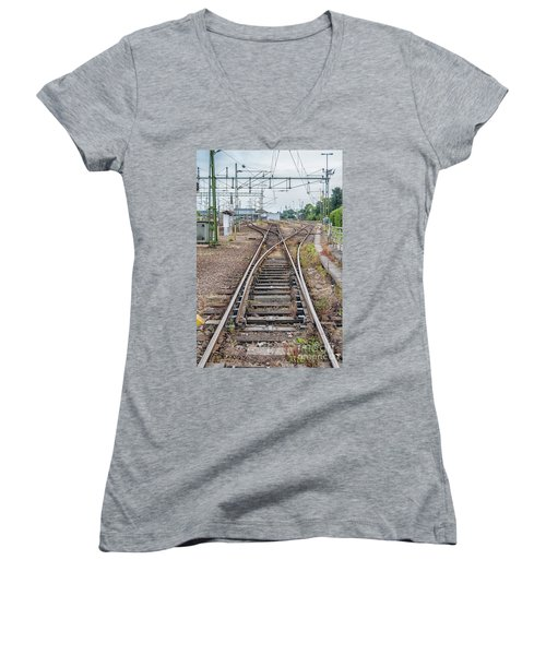 Women's V-Neck T-Shirt (Junior Cut) featuring the photograph Railroad Tracks And Junctions by Antony McAulay