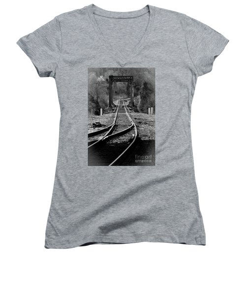 Women's V-Neck T-Shirt (Junior Cut) featuring the photograph Rails by Douglas Stucky