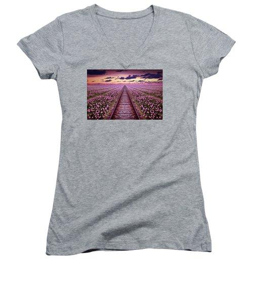 Railway In A Purple Tulip Field Women's V-Neck (Athletic Fit)
