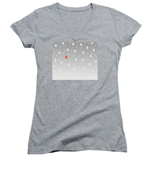 Women's V-Neck T-Shirt (Junior Cut) featuring the painting Rain And Tears by Trilby Cole