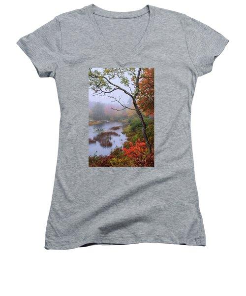 Women's V-Neck T-Shirt (Junior Cut) featuring the photograph Rain by Chad Dutson