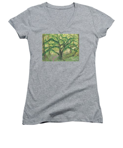 Rain Forest Washington State Women's V-Neck T-Shirt (Junior Cut) by Vicki  Housel